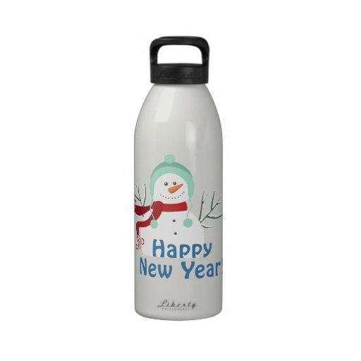 Happy New Year Snowman Drinking Bottle
