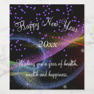 Happy New Year, Sparklers and Confetti, Custom Wine Label