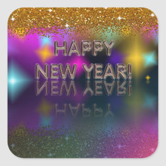 Happy New Year! Sparkly Reflection | Square Sticker