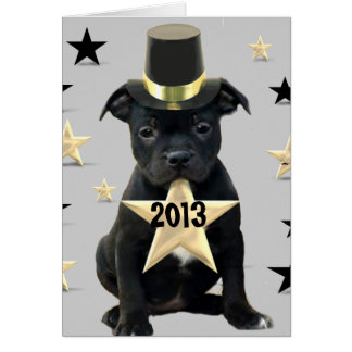 Happy New Year Staffordshire Bull Terrier card