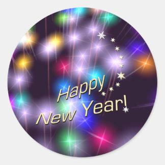 Happy New Year Star Lights Round Sticker