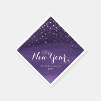 Happy New year starry night purple custom napkins