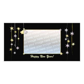 Happy New Year Stars Black Card