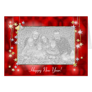 Happy New Year Stars photo frame Cards