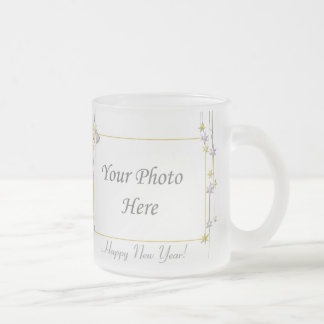 Happy New Year Stars White 2-Photo Frame Frosted Glass Coffee Mug