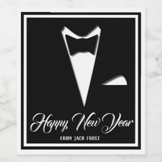 Happy New Year Tuxedo (Or Your Text) Wine Label