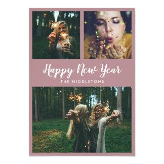 Happy New Year Typography Modern Three Photo Card