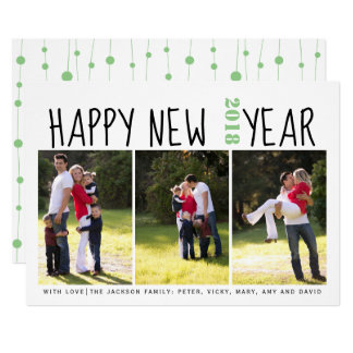 Happy New Year typography photo collage sage green Card