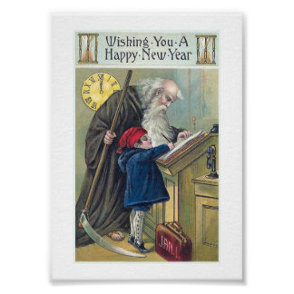 """""""Happy New Year"""" Vintage Poster"""