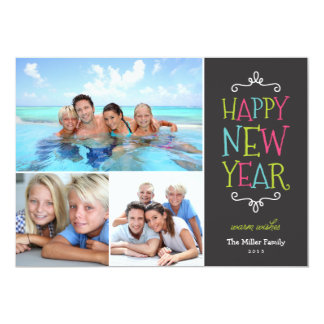 Happy New Year Whimsical Holiday Photo Card