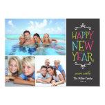 "Happy New Year Whimsical Holiday Photo Card 5"" X 7"" Invitation Card"