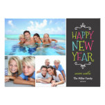 Happy New Year Whimsical Holiday Photo Card Custom Invite