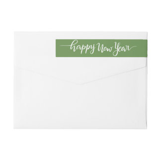 Happy New Year White Handwritten Script Green Wrap Around Label