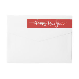 Happy New Year White Handwritten Script Red Wrap Around Label