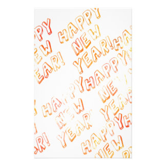 happy new year white stationery