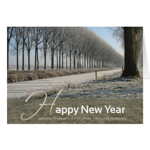 Happy New Year - winter card - 4 languages