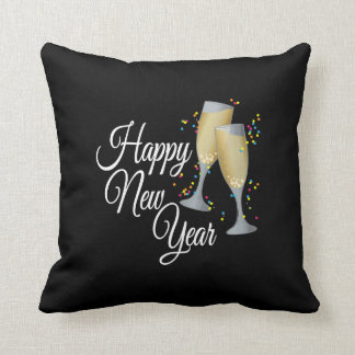 Happy New Year with Champagne & Confetti Throw Pillow