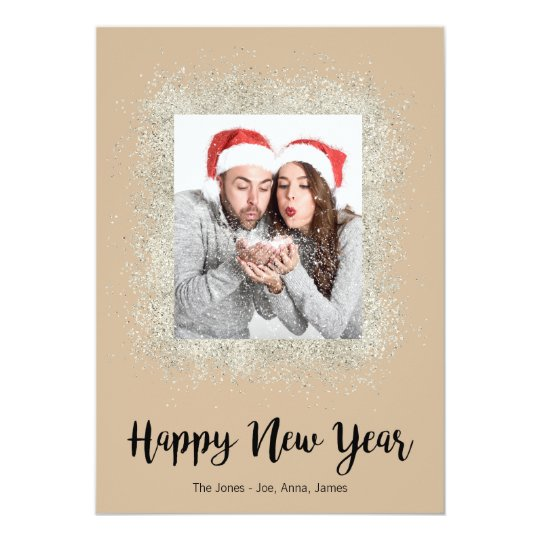 Happy New Year with silver glitter frame Card