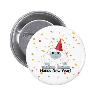Happy New Year Yeti 2 Inch Round Button