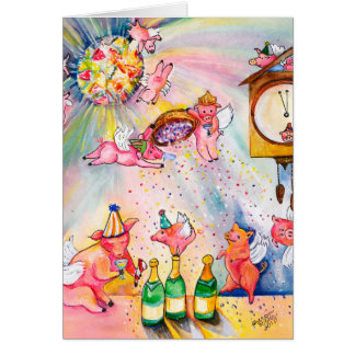 Happy New Year's Card Flying Pig