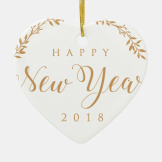 happy new years ceramic ornament