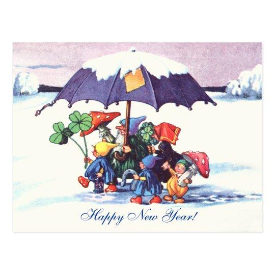 Happy New Year's Gnomes Postcard