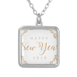 happy new years silver plated necklace