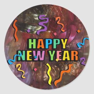 Happy New Years Steamers And Bell Decorations Stic Round Sticker