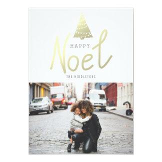 "Happy Noel Gold Christmas Tree Photo Modern 5"" X 7"" Invitation Card"