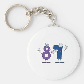 Happy Number 87 Keychain