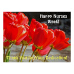Happy Nurses Week posters Red Tulips Thank You