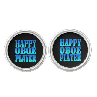 Happy Oboe Player in Blue Cuff Links