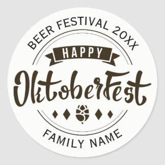 Happy Octoberfest Modern Typography Template 2 Classic Round Sticker