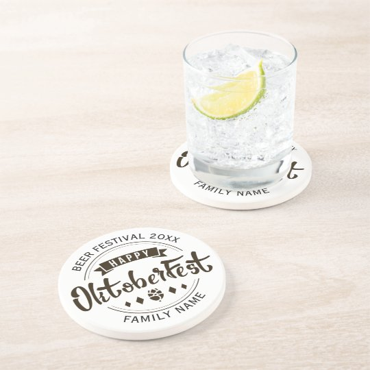 Happy Octoberfest Modern Typography Template Coaster