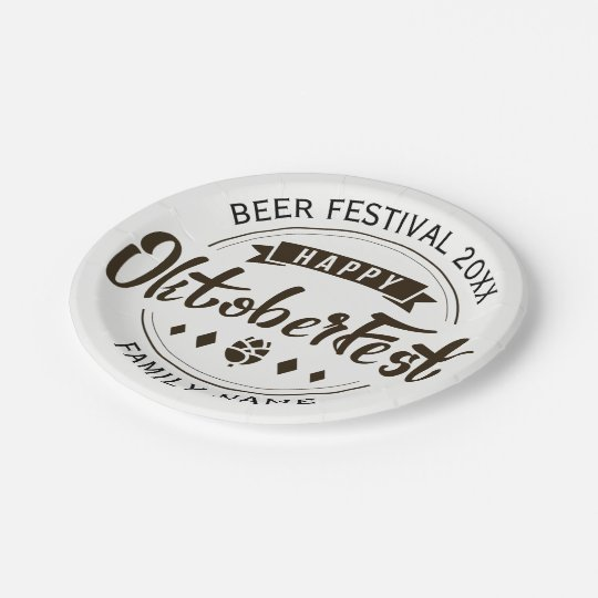 Happy Octoberfest Modern Typography Template Paper Plate