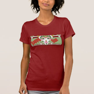 HAPPY ONE Shirt 4 Her- Cranberry/Green/White/Pink