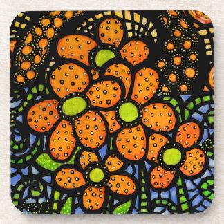 Happy Orange Flowers Coaster