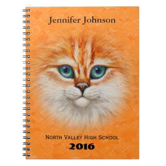Happy Orange Kitty Face Spiral Note Books