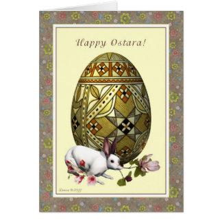 Happy Ostara - Vernal Equinox - Egg Hare Flowers Card