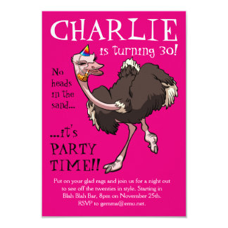 Happy Ostrich Dancing in Party Hat Cartoon Card