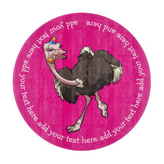Happy Ostrich Dancing in Party Hat Cartoon & Text Cutting Board
