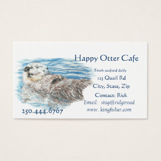 Happy Otter Seafood Cafe Business Logo Business Card