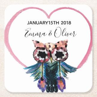 Happy Owl Wedding Favor Square Paper Coaster