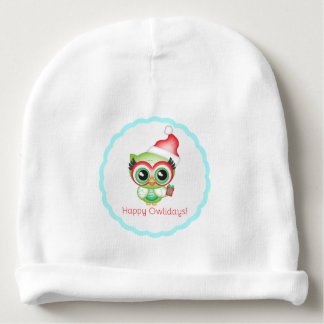 Happy Owlidays Christmas Santa Hat Holiday Owl Baby Beanie