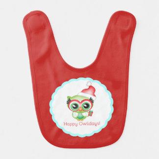 Happy Owlidays Christmas Santa Hat Holiday Owl Bib