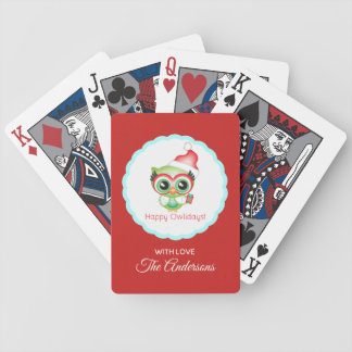 Happy Owlidays Christmas Santa Hat Holiday Owl Bicycle Playing Cards