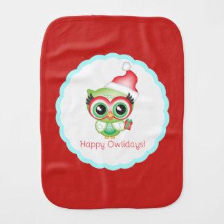 Happy Owlidays Christmas Santa Hat Holiday Owl Burp Cloth