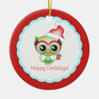 Happy Owlidays Christmas Santa Hat Holiday Owl Ceramic Ornament