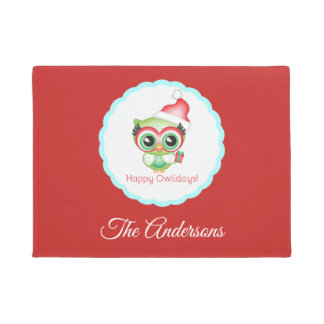 Happy Owlidays Christmas Santa Hat Holiday Owl Doormat