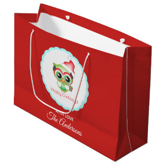 Happy Owlidays Christmas Santa Hat Holiday Owl Large Gift Bag